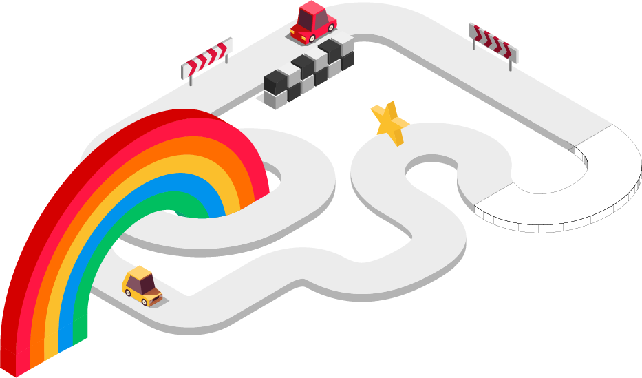 Illustration of a racetrack and rainbow